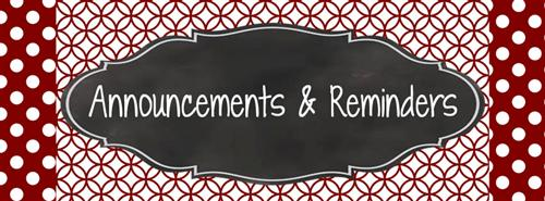 Announcements & Reminders
